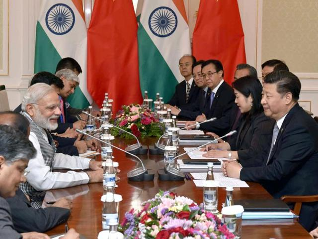 Prime Minister Narendra Modi in a bilateral meeting with the Chinese President Xi Jinping in Tashkent.