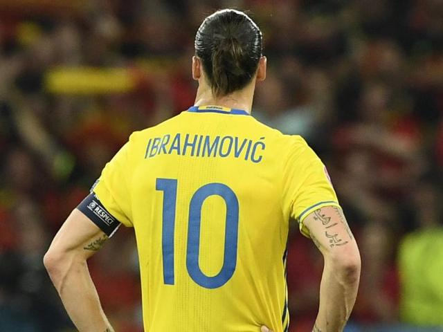 Sweden's forward Zlatan Ibrahimovic walks on the pitch after Sweden lost 0-1 in the Euro 2016 group E football match between Sweden and Belgium at the Allianz Riviera stadium in Nice.