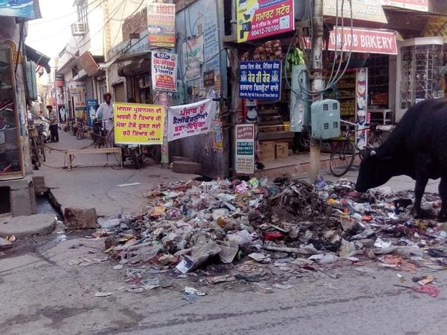 Garbage dumped at an intersection in Mansa on Friday.