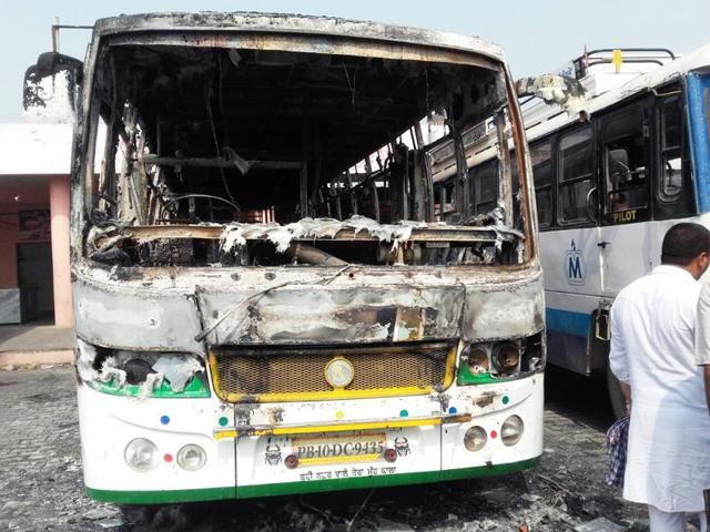 A private bus burnt at Malerkotla bus stand on Saturday.