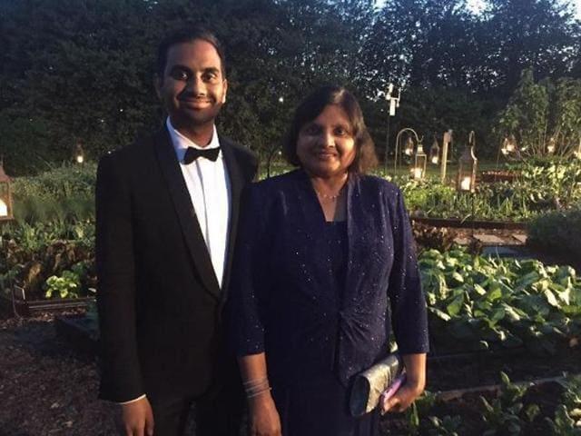 Aziz Ansari with his mother Fatima Ansari.
