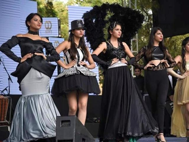 Members of Glammoratti , the fashion society of Dyal Singh College.