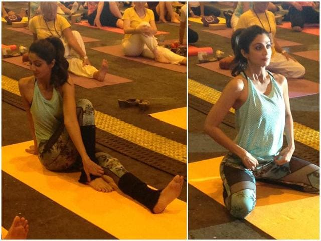 The annual awards show which is being held in Madrid, Spain this year saw Shetty conducting Yoga class, as the Bollywood beauty displayed her lithe figure in full glory.