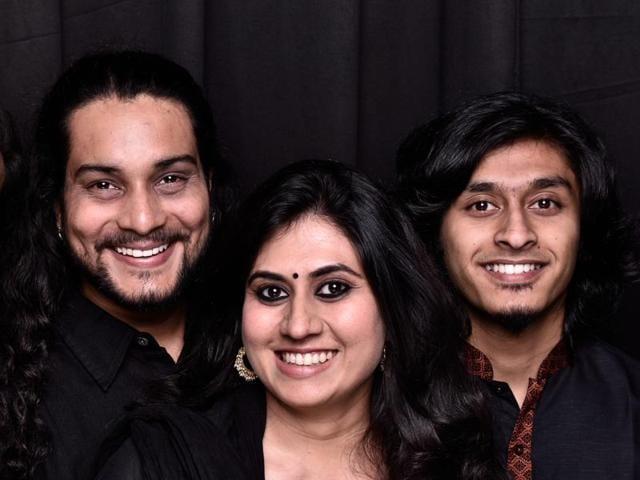 The Sufi singers: Anuraag Dhoundeyal (front) and Priyanka Patel.