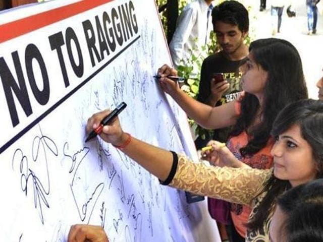 """Students sign """"No Ragging"""" pledge on the first day of new academic year at a college in Delhi. (File Photo)"""