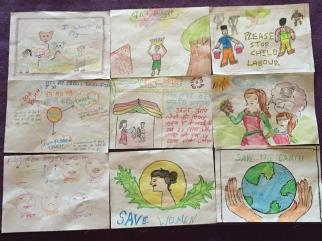 Some of the artworks displayed by the children at the event.