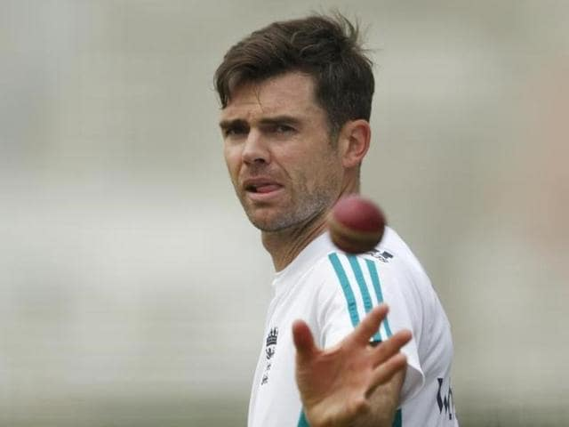 England's James Anderson during nets.