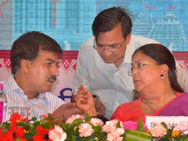 CM Vasundhara Raje lights a lamp during the launch four projects aimed at taking Jaipur a step closer to becoming a smart city on Saturday.