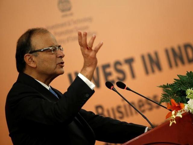 Finance minister Arun Jaitley speaking at an