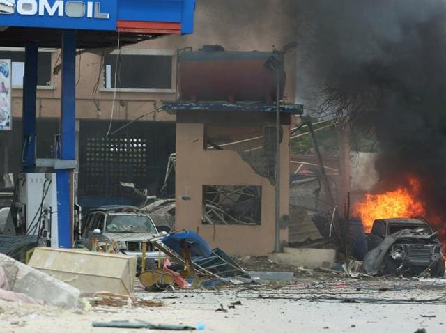 A general view shows the scene of a suicide bomb attack outside Nasahablood hotel in Somalia's capital Mogadishu.
