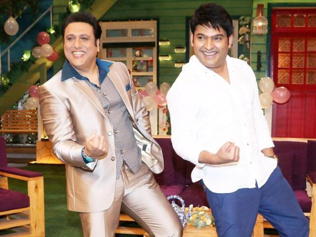 Mumbai: Actor Govinda with actor and stand-up comedian Kapil Sharma on the sets of The Kapil Sharma show, in Mumbai on June 22, 2016. (Photo: IANS)