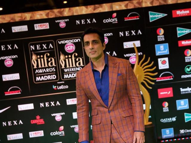 Sonu Sood poses on the green carpet as he arrives at the 17th edition of IIFA Awards (International Indian Film Academy Awards) in Madrid on June 24, 2016.