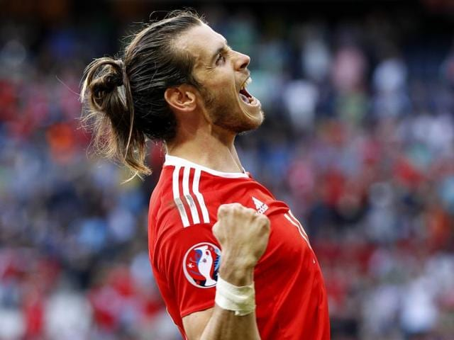 Wales' Gareth Bale celebrates after the game.