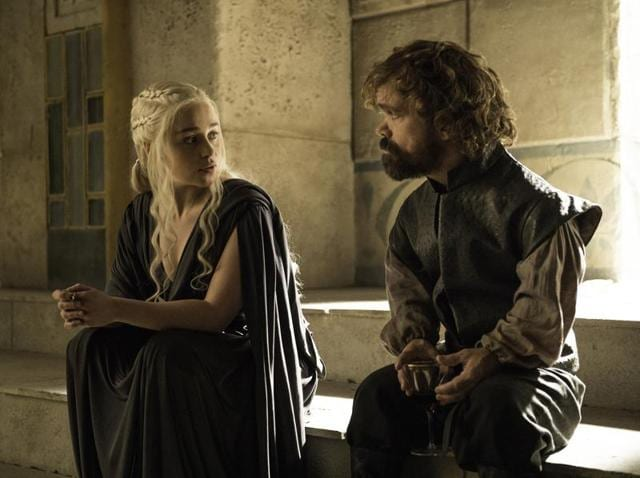 Emilia Clarke and Peter Dinklage in a still from Game of Thrones.