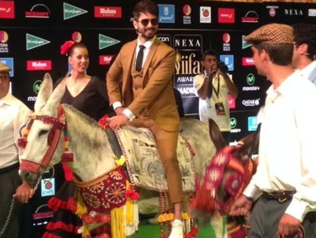 Shahid Kapoor arrived on a donkey for the event.