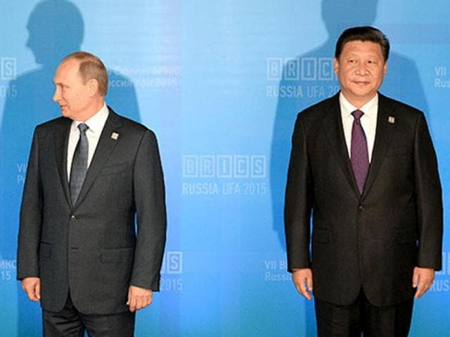 President of Russia Vladimir Putin and President of China Xi Jinping at during BRICS.