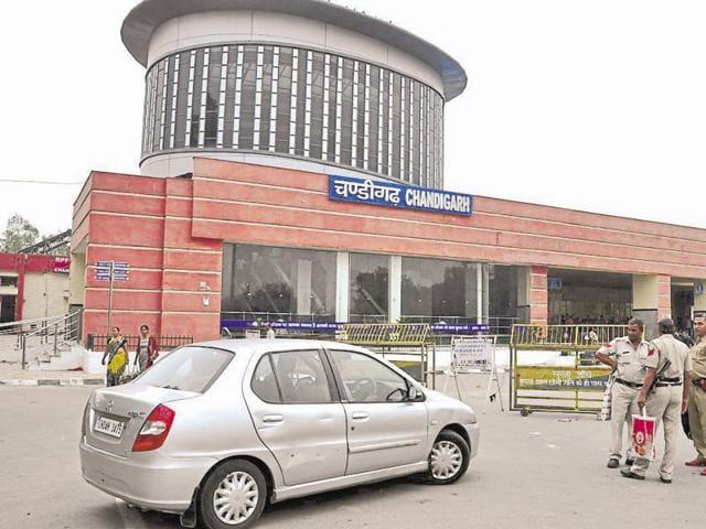 A blockade put up at the Chandigarh Railway Station on Saturday.