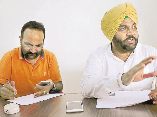District Congress Committee (rural) president Gurjit Singh Aujla addressing the media in Amritsar on Saturday.