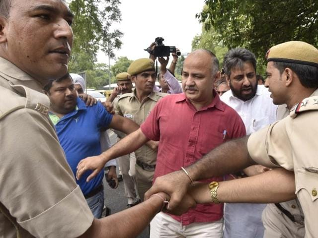 Delhi's deputy CMManish Sisodia was detained by police on his way to the PM's residence on June 26, 2016.