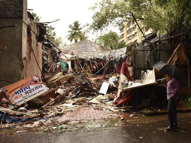 The Ambedkar Bhavan at Dadar, Mumbai, was demolished late night on June 24, 2016. Police have registered a case against the trustees following a complaint.(Anshuman Poyrekar/HT Photo)