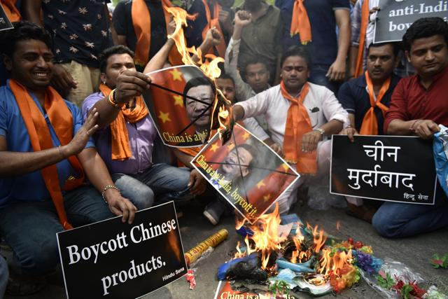Activists from the Hindu Sena organisations shout anti-China slogans in New Delhi on June 25. India has blamed regional rival China for blocking its entry to the Nuclear Suppliers Group.