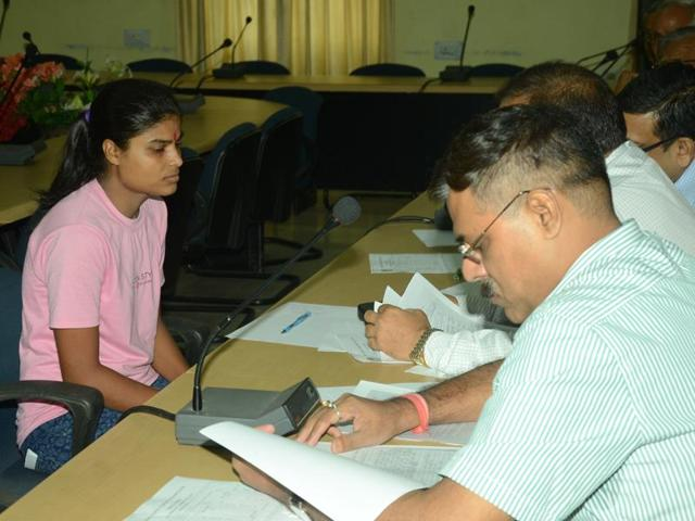 Bihar board 'topper' Ruby Rai appears for a re-test before an expert panel.