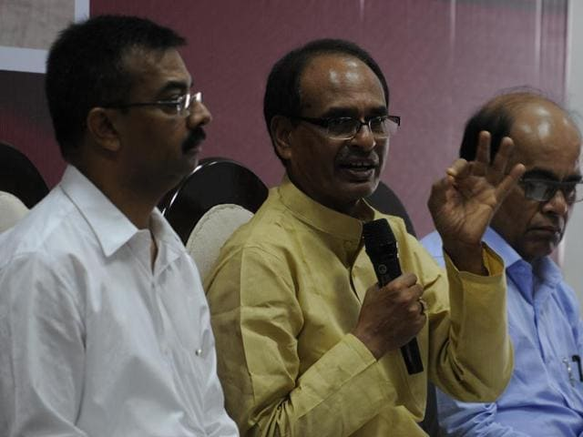 Chief minister Shivraj Singh Chouhan addressing a press conference about his China visit, in Bhopal on Sunday.