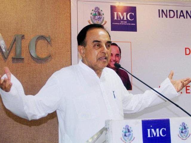 Rajya Sabha MP and senior BJP leader Subramanian Swamy speaks during a meeting on Indian Economic and Political Outlook in Mumbai.