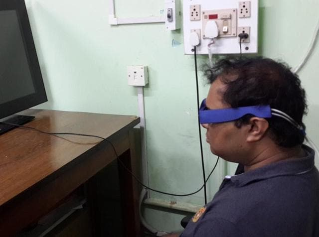 The prototype of the device designed by a team of IIT Kharagpur researchers to check the fatigue level in pilots.