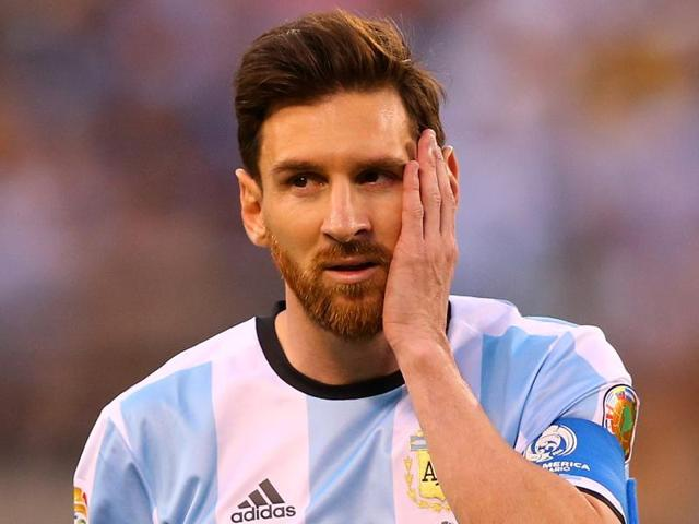 Lionel Messi of Argentina looks on against Chile during the Copa America Centenario Championship match.