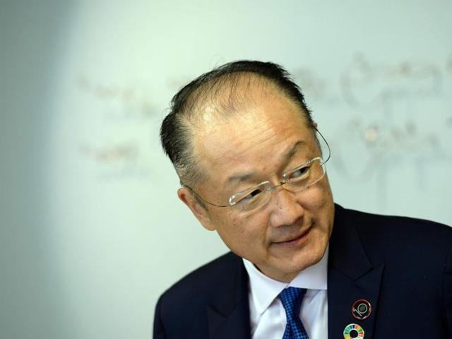 World Bank Group's president Jim Yong Kim takes part in a meeting with European Union Council President at the European Union Council building in Brussels.