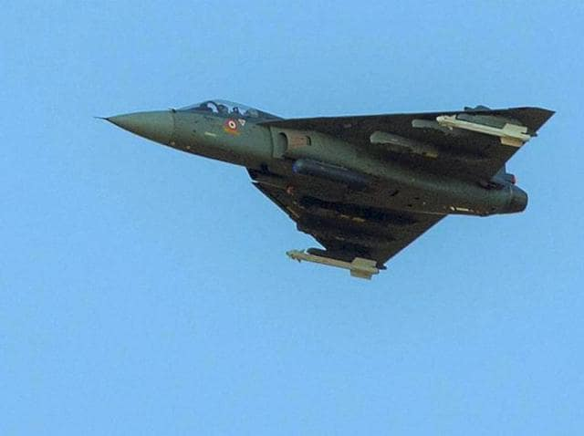 Indian Air Force's Tejas fighter jet in action during 'Exercise Iron Fist' in the desert of Pokhran.