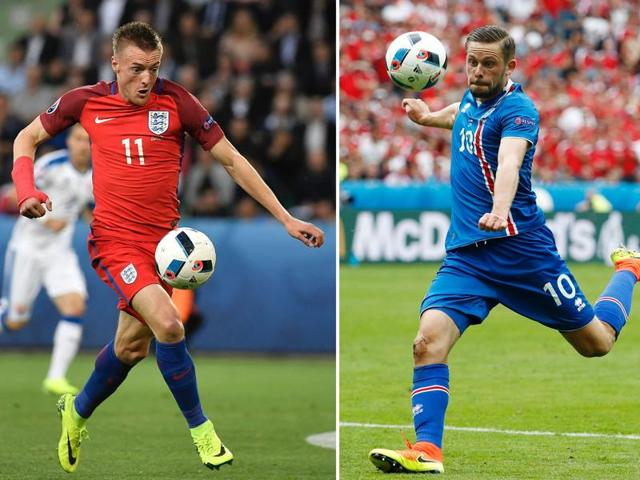 This combination of two file pictures shows England's forward Jamie Vardy (L) and Iceland's midfielder Gylfi Sigurdsson. England will face Iceland in their Euro 2016 round-of-16 match in Nice on June 27, 2016.