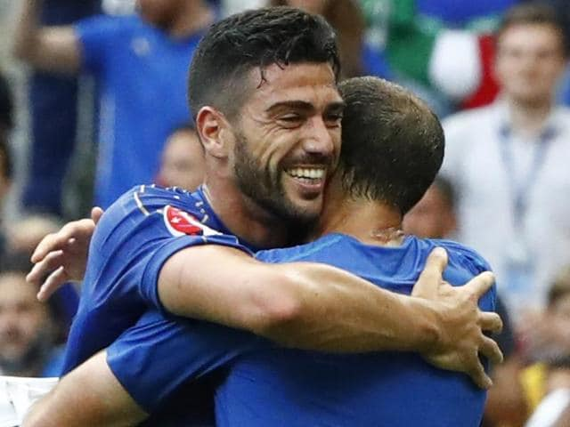 Italy's Graziano Pelle celebrates after the game.
