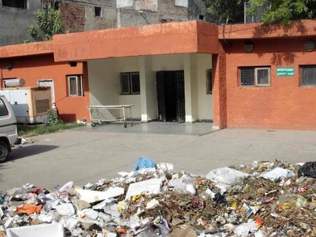 The mortuary at the civil hospital where bodies are kept.