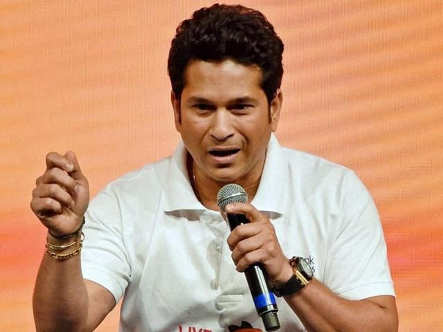 Cricket legend Sachin Tendulkar at the launch of a product in Mumbai.