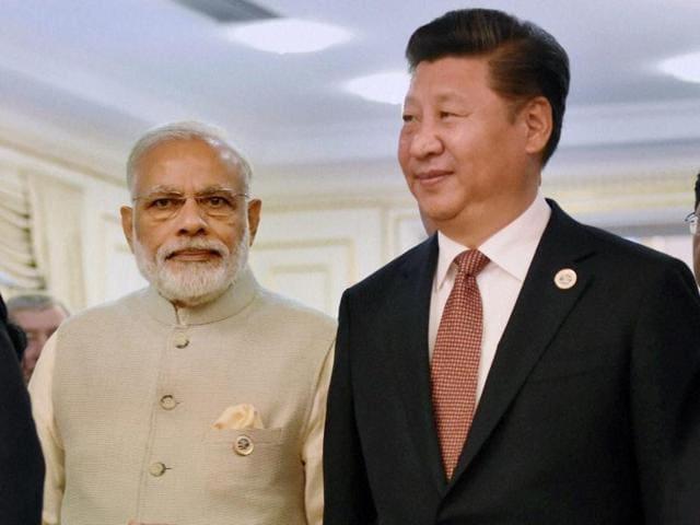 Prime Minister Narendra Modi with Chinese President Xi Jinping in Tashkent.