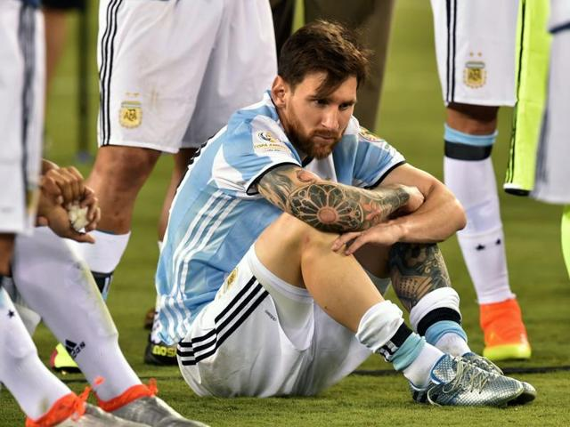 Argentina skipper Lionel Messi missed a penalty  in  the shootouts. After his side lost to Chile in the Copa America  final, Messi decided to call it a day on his international career.