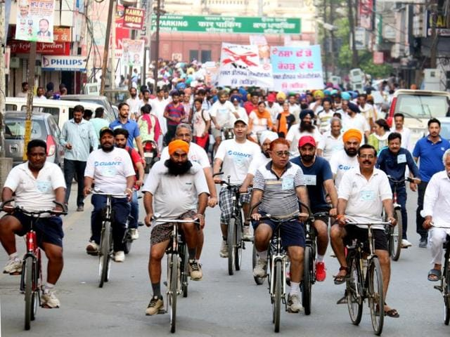 Cops during the awareness rally in Bathinda on Sunday.