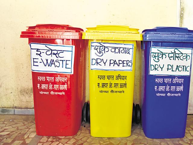 Devangini Society initiated a waste management system, where waste is segregated into e-waste, dry and wet waste at the household level.(HT File Photo)