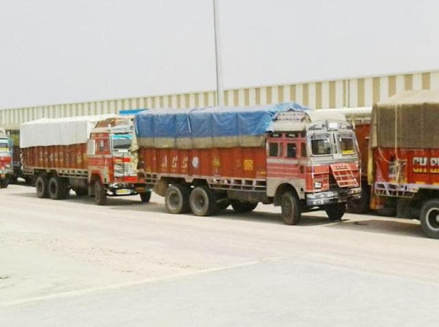 The stranded trucks at the Integrated Check Post on Attari Border on Monday.