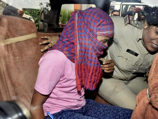 Ruby Rai, who is accused of topping Bihar School Examination Board higher secondary exam by unfair means, after her arrest in Patna.