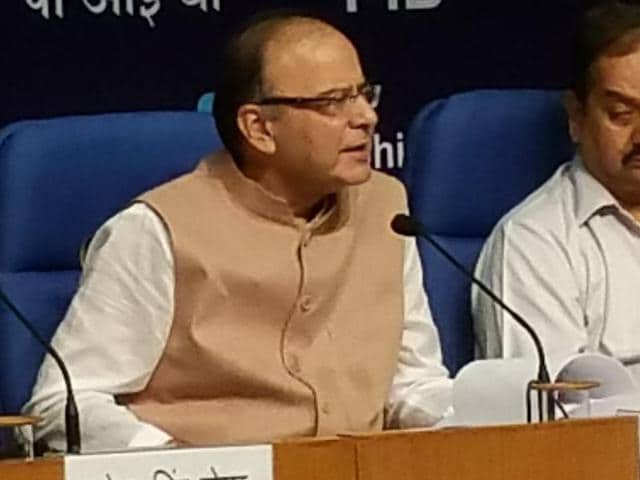 Finance minister Arun Jaitley comes out after attending a meeting on the 7th Pay Commission in New Delhi on Wednesday.