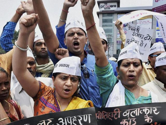 AAP activists protest against gang-rape of a 21-year-old woman in Bihar's Motihari district, in Patna on Sunday.