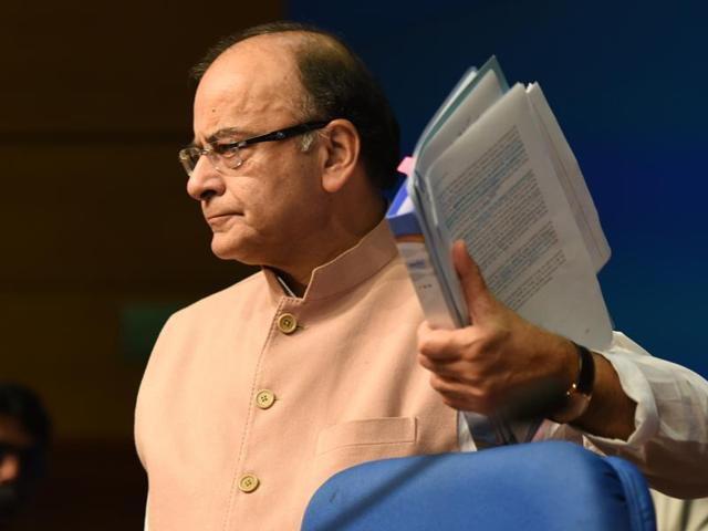 "Finance minister Arun Jaitley said the government is ""not surprised"" at the additional expenditure, which is estimated at Rs 1.02 lakh crore as per official estimates.(Virendra Singh Gosain/HT Photo)"