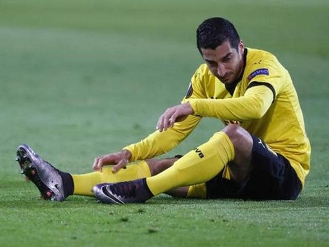 Borussia Dortmund's Henrikh Mkhitaryan during their match against Liverpool in Germany.
