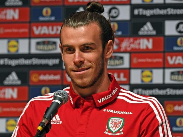 Wales' midfielder Gareth Bale speaks during a press conference in Dinard during the Euro 2016 football tournament.