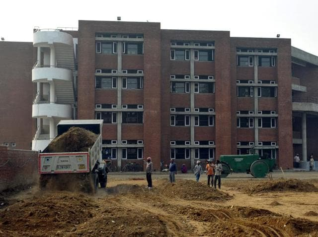 Construction in progress at Government School, Kishangarh.