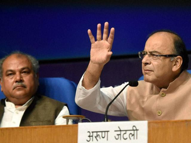 Finance minister Arun Jaitley addresses a press conference in New Delhi on Wednesday.