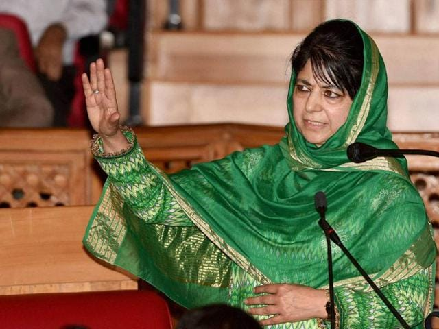 Jammu and Kashmir chief minister Mehbooba Mufti addresses Legislative council in Srinagar on Tuesday.